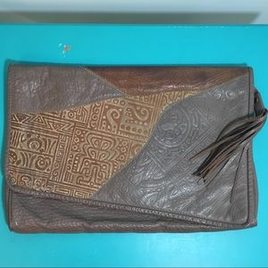 Vintage 1980's Grey and Brown Leather Clutch